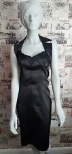 Morgan Black Satin Look Halterneck Open Back Cocktail/Party Dress size 10 UK
