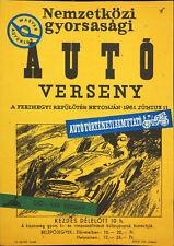 Vtg Orig. sport poster International motor-race in Feri-hegy airport 1961