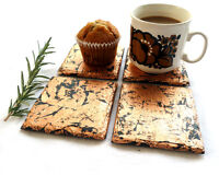 Slate & Copper coasters, placemats, new home, handmade UK, copper, silver, gold