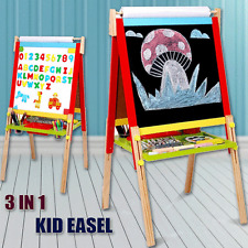 Kids Easel Art Children Whiteboard Blackboard Stand Wood Magnetic Drawing Board