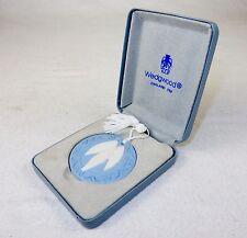 Angel Ornament/Medallion ~ Blue Wedgwood Jasperware , 1989, w/Tassel & Gift Box