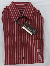Men's Size S/P 14-14 1/2 VanHeusen Brick Red Striped Button Up Shirt NEW Small