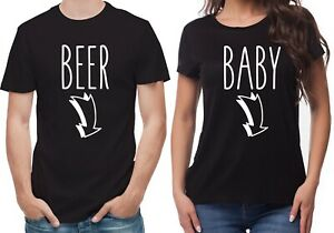 Beer Baby with pointing arrows to the belly pregnancy reveal black T-Shirts set