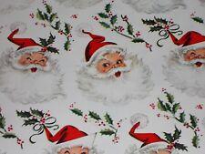 VTG CHRISTMAS WRAPPING PAPER GIFT WRAP 1950 SANTA FACE HOLLY NOS CUTE