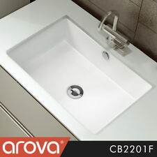 Qubi II Bathroom Ceramic Wash Basin Rectangular White Under Counter Sink CB2201F