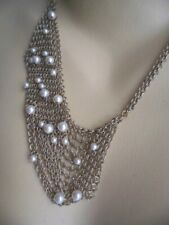 VINTAGE SIGNED MIMCO RETRO RUNWAY NECKLACE GOLD MESH CHAIN BIB AND PEARL BEADS