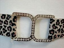 Women Waist Leopard Skinny Belt With Square Rhinestones Buckle Size L/XL