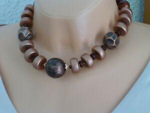 Halskette Collier Statementkette Holz Kupfer-Braun UNIKAT