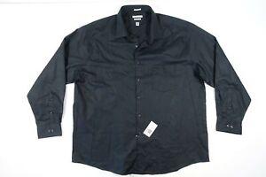 Van Heusen Flex Schwarz 18 34 35 Stretch Kleid Knopf Vorne Shirt Herren Nwt Neu
