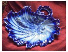 ANTIQUE T. RATHBONE & Co  FLOW BLUE ROCOCO DESIGN BON BON DISH