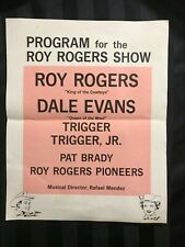 1950-60s Roy Rogers Dale Evans Stage Rodeo Show Roster Sheet