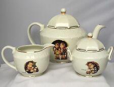 """M.J.Hummel Porcelain Tea Set """"Stormy Weather"""" for The Danbury Mint Euc!"""