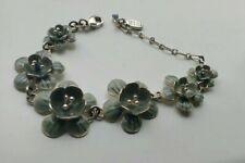 Gorgeous Signed Pilgrim Danish Design Silver Coloured Enameled Floral Bracelet