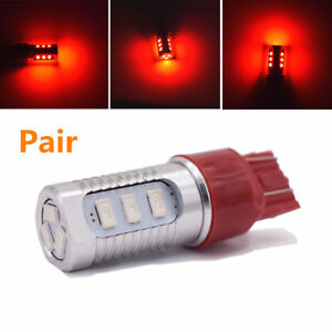 2X 7443 12V 600LM Red LED Car SUV Strobe Rear Alert Safety Tail Brake Stop Light