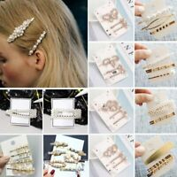 Women Fashion Pearl Hairpin Hair Clip Pin Snap Barrette Stick Hair Accessories