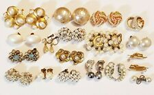 18 Piece Vintage and Modern Faux Pearl Clip-On/SB Earring Lot - Bogoff