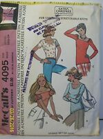 Vtg McCall's Sewing Pattern 4095 Misses Size S Pullover Tops Stretch Knits 1974