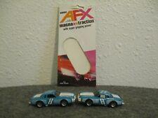 VTG LOT(2) AURORA AFX #8 360ci DODGE MAGNUM W/ORIG CARD(1) LIGHT BLUE EXCELLENT+