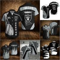 Las Vegas Raiders Summer Casual Shirts Men's Slim Button-Down Shirt Short Sleeve