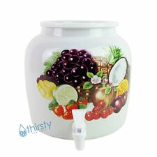 Water Crock Dispenser Tropical Fruit Ceramic Porcelain Pot Spigot Faucet Valve