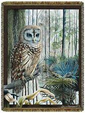 68x48 SWAMP OWL Bird Tapestry Afghan Throw Blanket
