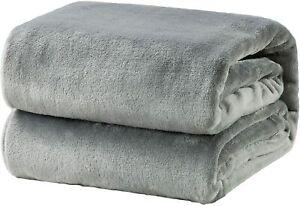 Bedsure Flannel Fleece Throw Blankets Silver Grey Travel Size Super Soft Fluffy