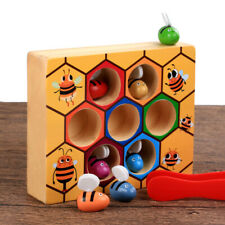 Children Preschool Wooden Bee Clip Out Montessori Educational Toys XMAS Gift US