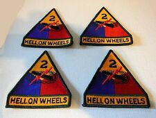 "Lot Four (4) Alike Embroidered 2Nd Armored Division ""Hell On Wheels"" Patches"