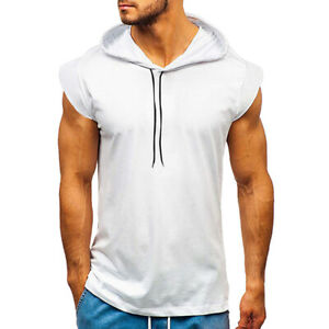 Mens Muscle Gym Vest Sleeveless Pullover Hoodie Tank Tops Tee T-Shirt Blouse Hot