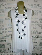 AKH Fashion: Lagenlook Basic Tunika Long-Top weiss Zipfellook EG 46 48 50 NEU