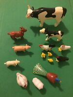 Playmobile Farm Animals Lot Moveable Toys Cows, Chickens, Pig Goat 14 Pieces