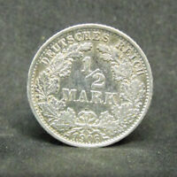 GERMANY 1/2 MARK 1906 F   SILVER COIN   #1016