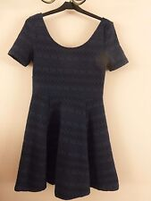 ladies skater dress stretchy blue/black geometric pattern H&M size S 8/10