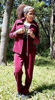 White Stag Sz S 4 - 6 Burgundy Velour Track Sweat Jogging Suit Jacket Pants Set