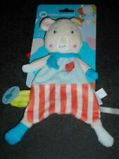 Doudou Plat Cochon Blanc Bleu Rayé Rouge Attache Tétine Bébé Confort Neuf