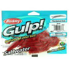 "New! Berkley Gulp! Sandworm Soft Bait 2"" Length, Bloody, Pack Of 24 1130715"
