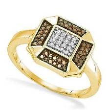 10K Yellow Gold Chocolate Brown & White Diamond Ring .20ct Octagon Cluster Band