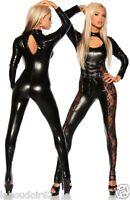 SEXY tenue intégrale vinyl wetlook & dentelle transparente combinaison clubwear