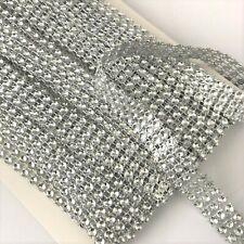 BLING RIBBON SPARKLY Card CAKE Mesh SILVER Diamante Effect 3 Row x 8 metre Shiny