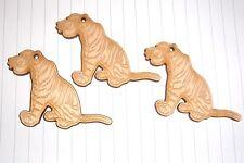 Kawaii Cute 60s Jungle Book Shere Khan Tiger  Charms  x 3 wooden pendants