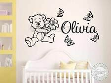 Personalised Nursery Wall Sticker with Teddy Bear Bedroom Wall Art Decor Decals
