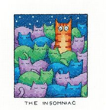 Heritage Crafts Cross Stitch Kit - The Insomniac, Cat