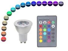 LED Strahler GU10 3W RGB mit Fernbedienung 16 Farben Leuchtmittel 230V bunt