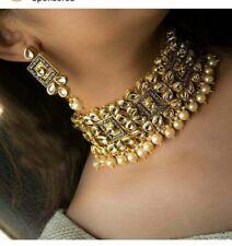 Real Kundan Necklace Set Bollywood Jewelry Ad CZ Polki Handmade Statement Set 4