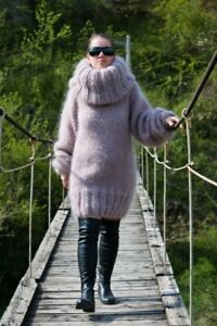Women's Hand Knitted HIGH QUALITY MOHAIR Beige Long Turtle Neck Sweater Dress