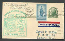1950 PC UX27 UPRATED W/3c TO PAY 4c AIR MAIL RATE HAS LABEL ETIQUETTE SEE INFO