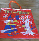 VINTAGE HALLOWEEN PLASTIC TRICK OR TREAT BAG - WITCH-CAT-OWL - GOOD - USA