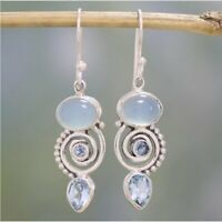 Women Retro Silver White Fire Opal Gemstone Drop Dangle Hook Earring Jewelry
