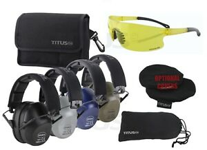 TITUS 2 Series Low Pro 34 NRR Ear Protection Safety Glasses Shooting Range PPE