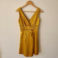Karen Millen Mustard Gold Silk Mini A-Line Dress XS 8AU/UK Lined Branded Studs